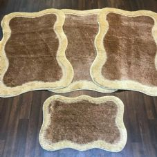 ROMANY WASHABLES TRAVELLERS 4 MATS NON SLIP NEW DESIGNS SUPER THICK BROWN/BEIGE